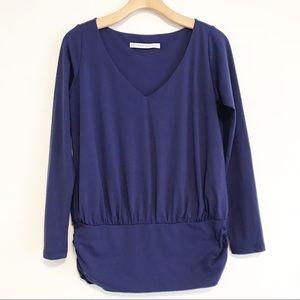 Susana Monaco blue long sleeve blouse